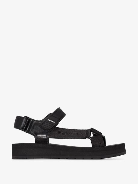 Prada black Nomad logo sandals