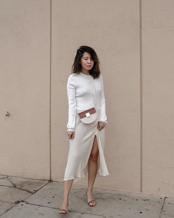 bag crossbody bag midi skirt slit skirt sandal heels white sweater