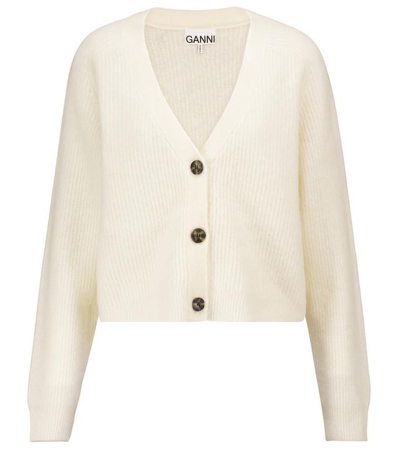 Ganni Cropped wool-blend cardigan in white
