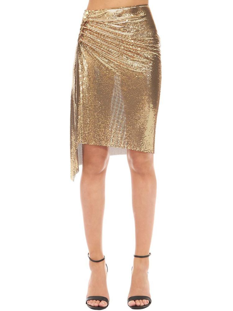 PACO RABANNE Mini Knee Length Mesh Skirt in gold