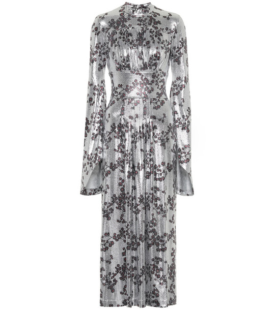 Paco Rabanne Floral metallic jersey maxi dress