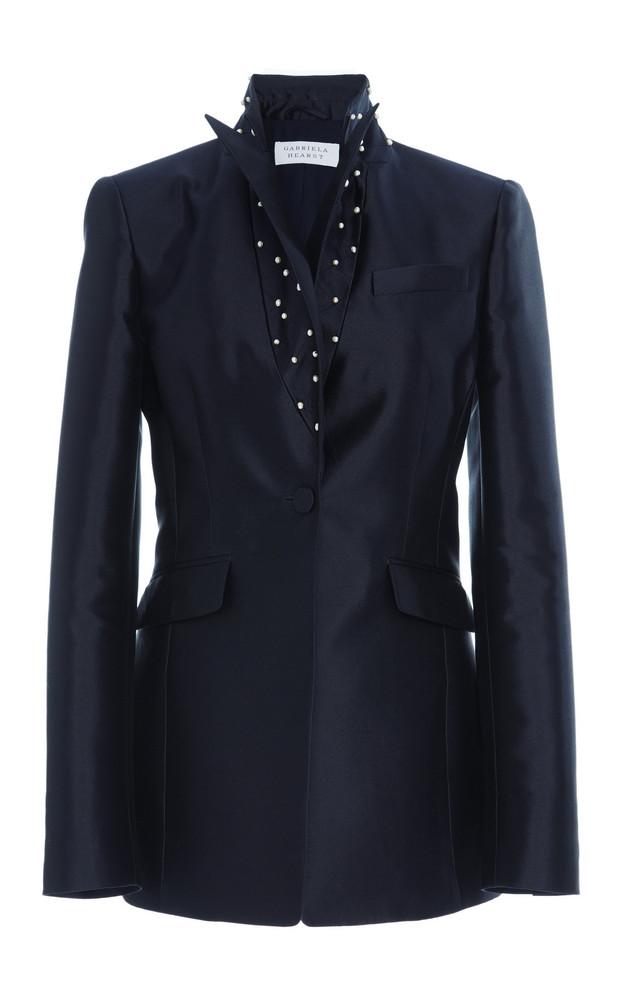 Gabriela Hearst Serge Blazer Silk-Blend Blazer With Fresh Water Pearl Detail in navy