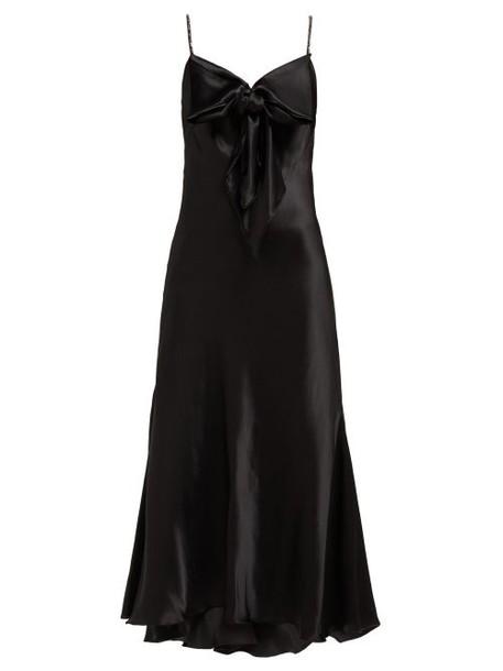 Maria Lucia Hohan - Ziya Bow Embellished Silk Satin Midi Dress - Womens - Black