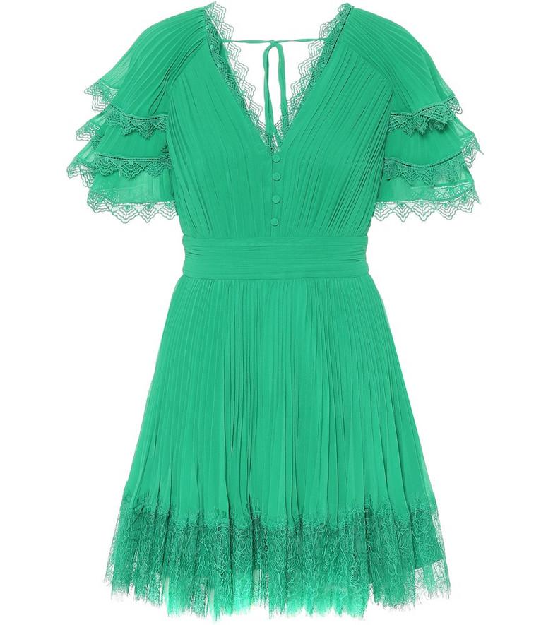 Self-Portrait Lace-trimmed chiffon minidress in green