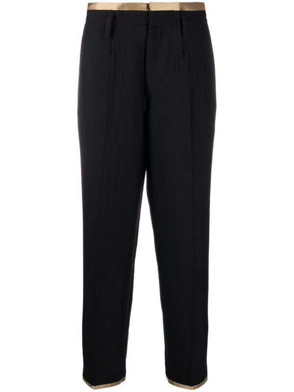 Forte Forte contrast-trim high rise trousers in black