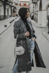 shoes and basics,blogger,coat,sweater,jeans,bag,grey coat,winter outfits