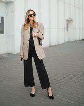 pants,wide-leg pants,black pants,blazer,black top,bag,slingbacks