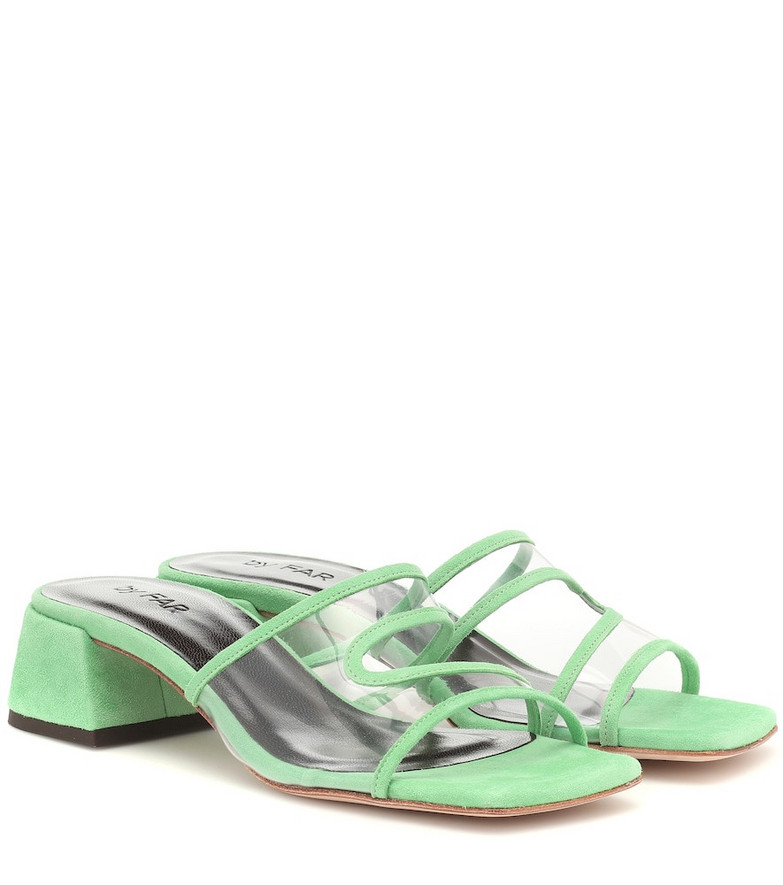 By Far Lola suede and PVC sandals in green