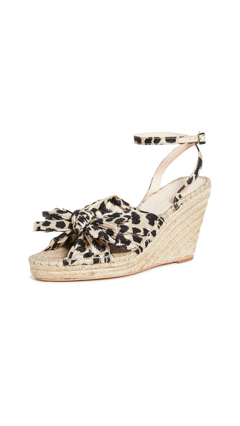 Loeffler Randall Charley Pleated Knot Espadrille Wedges in leopard