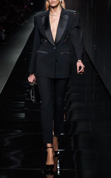 Versace Satin-Trimmed Cady Blazer in black