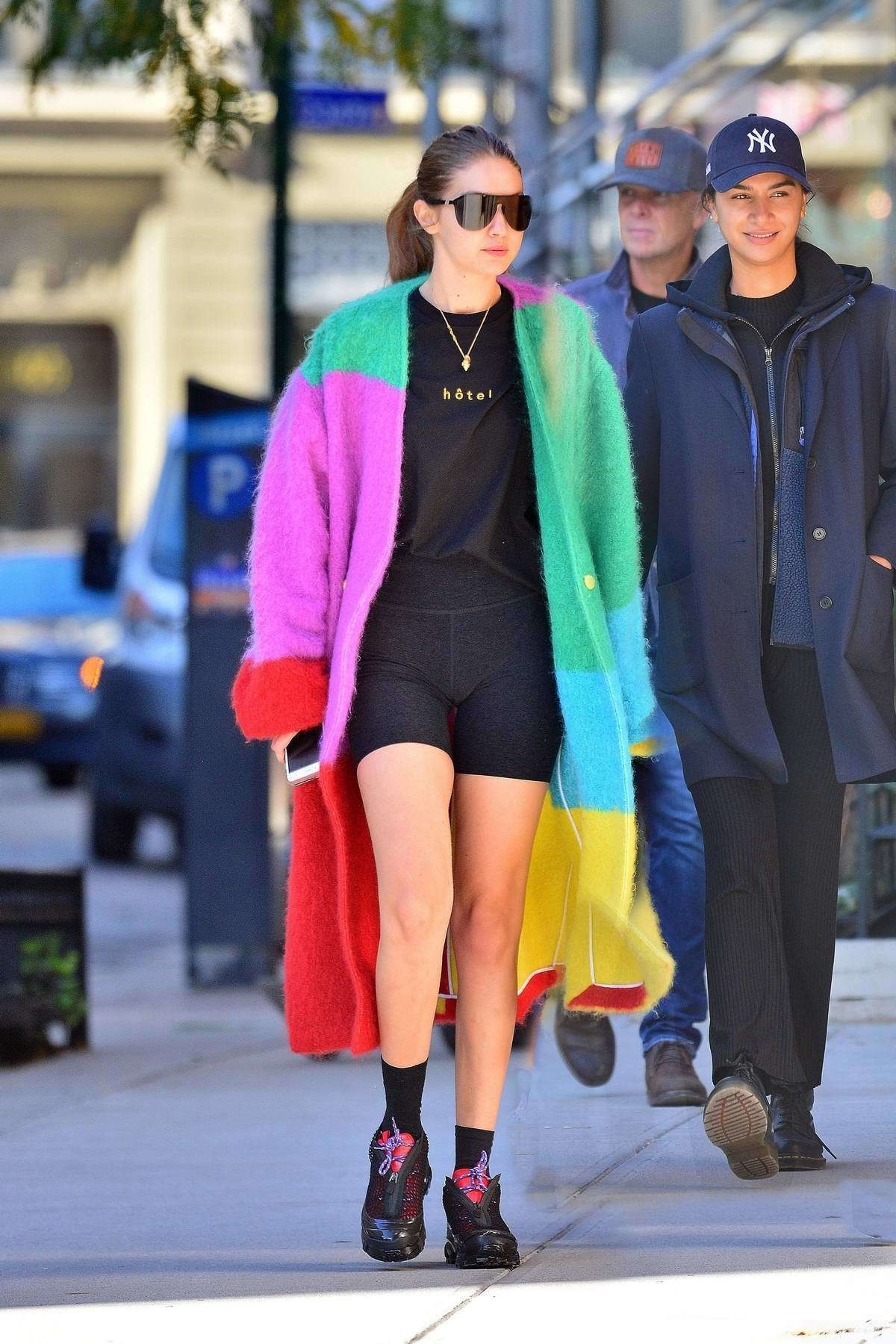 shorts colorful biker shorts gigi hadid model off-duty streetstyle