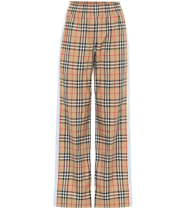 Burberry High-rise wide-leg cotton pants in beige