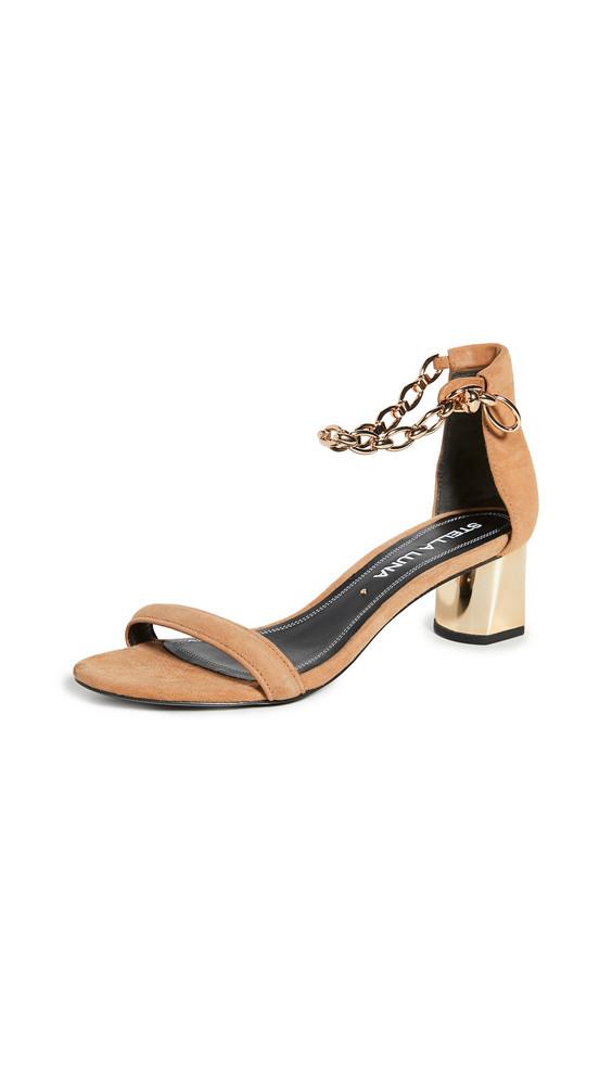 Stella Luna Ankle Chain Sandals in brown