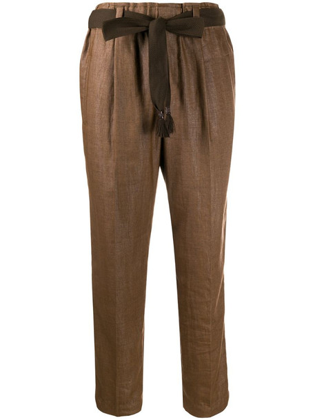 Brunello Cucinelli cropped tailored trousers in brown
