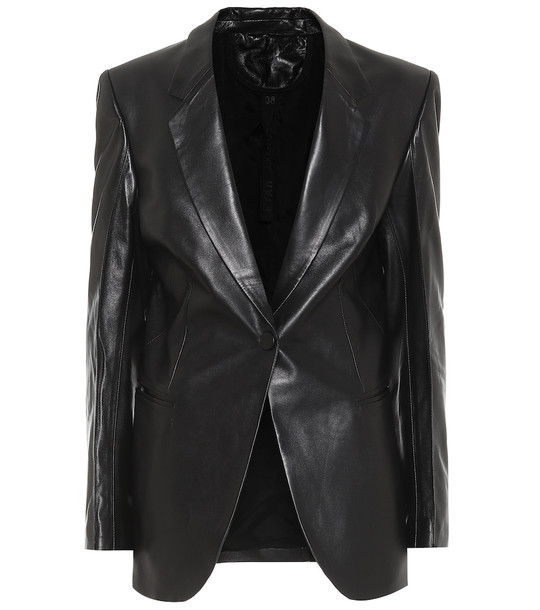 Petar Petrov Single-breasted leather blazer in black