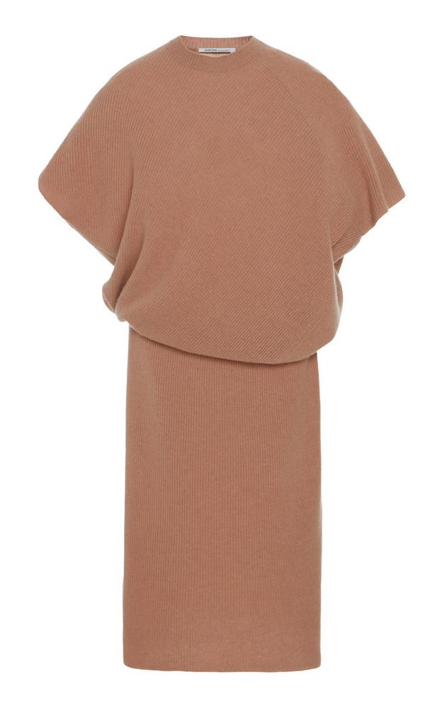 Agnona Ribbed Cashmere Midi Dress in pink
