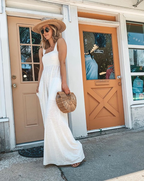 jumpsuit white jumpsuit sleeveless handbag wood sun hat flat sandals