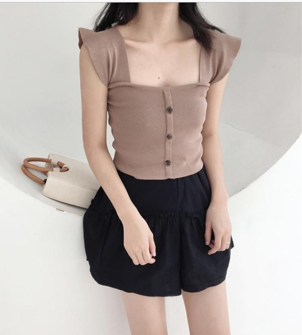 blouse girly button up crop tops crop cropped