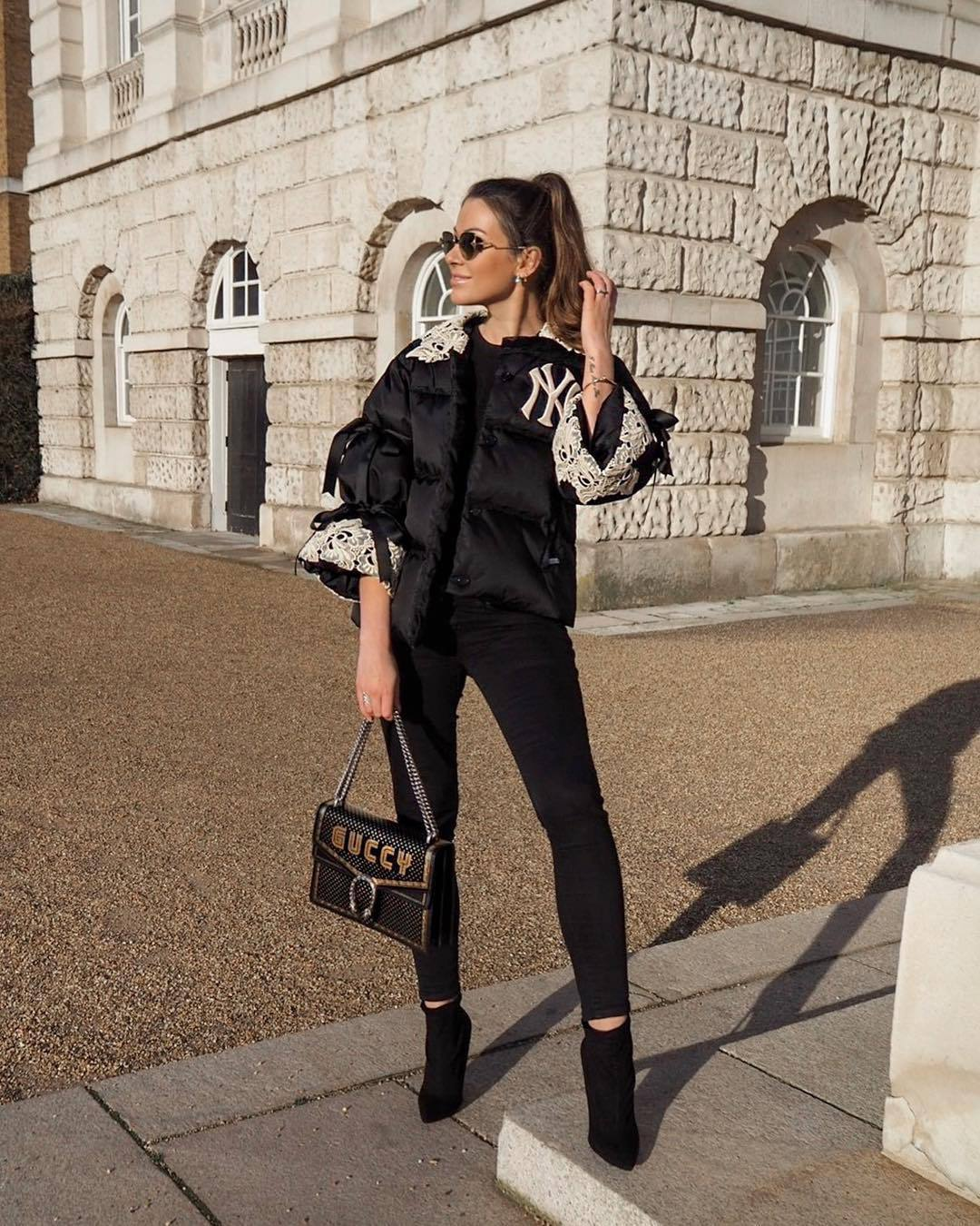 jacket puffer jacket black jacket gucci black boots ankle boots heel boots black skinny jeans black bag black sweater pants gucci bag model off-duty model streetstyle streetwear