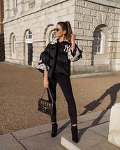 jacket,puffer jacket,black jacket,gucci,black boots,ankle boots,heel boots,black skinny jeans,black bag,black sweater,pants,gucci bag,model off-duty,model,streetstyle,streetwear