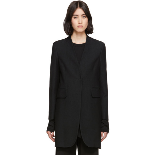 MM6 Maison Margiela Black Wool Lapel-Less Overcoat