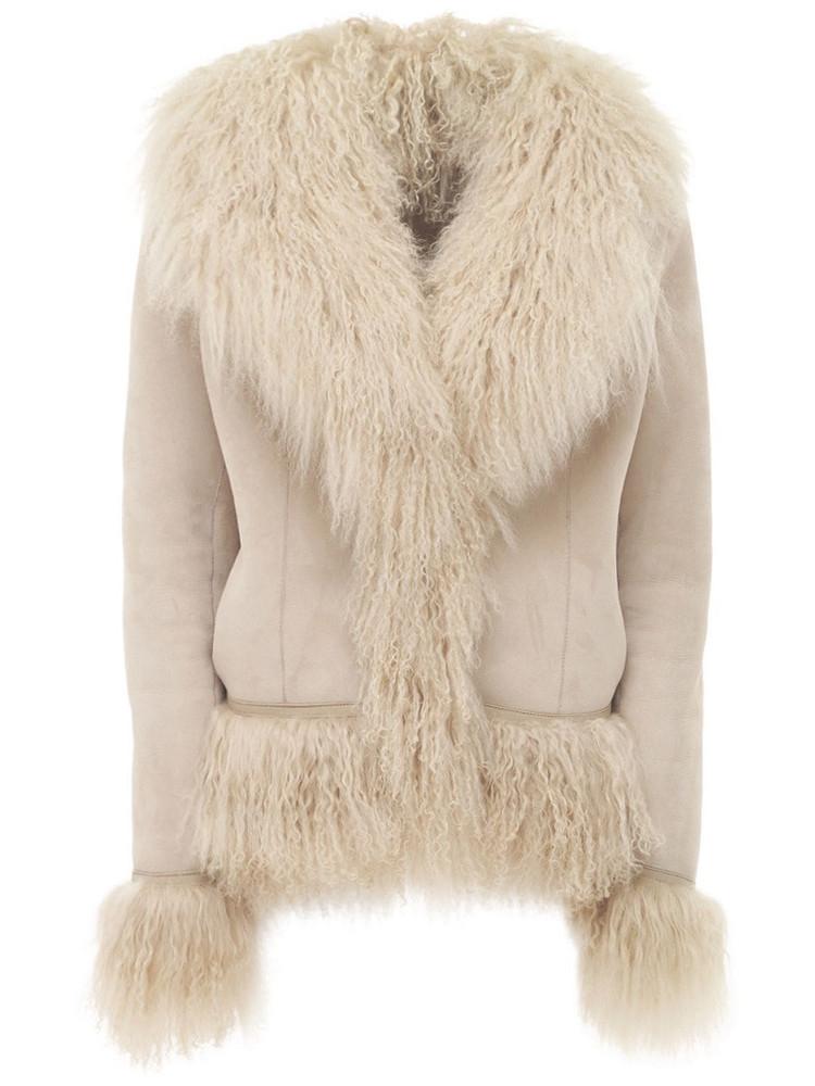 SAKS POTTS Bon Short Shearling Jacket in beige