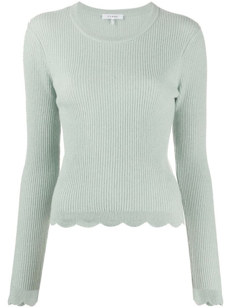 FRAME scallop ribbed knit jumper in green
