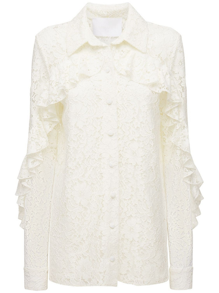 COSTARELLOS Ruffled Lace Shirt in ivory