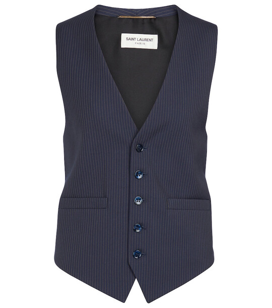Saint Laurent Pinstriped wool vest in blue