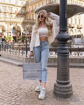 top,crop tops,dior bag,sneakers,high waisted jeans,white shirt