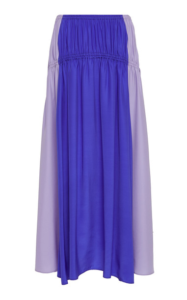 AMUR Tova Ruched Silk Ankle Skirt Size: XXS in blue