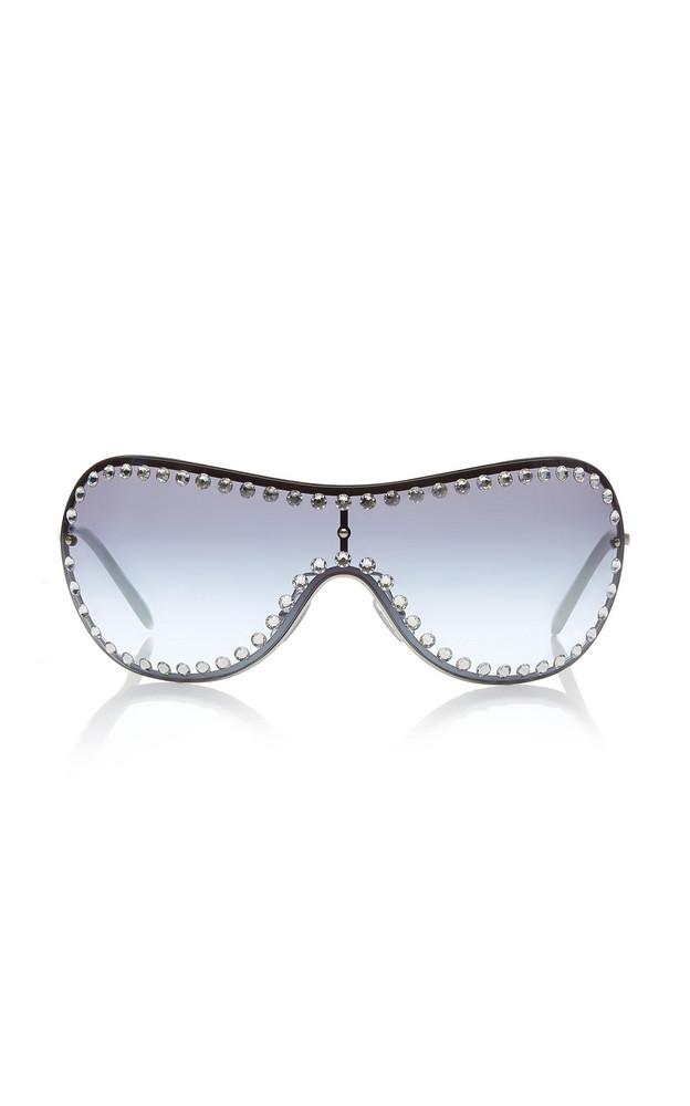 Miu Miu Shield Crystal-Embellished Metal Sunglasses in blue