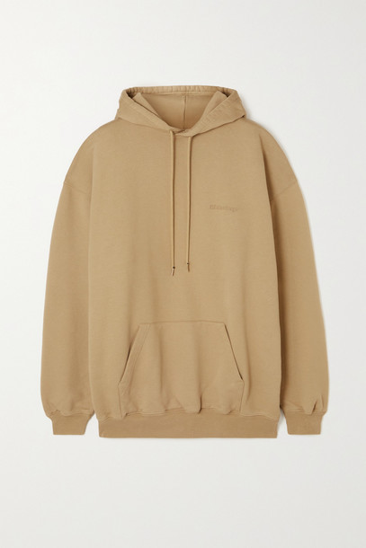 Balenciaga - Oversized Embroidered Cotton-jersey Hoodie - Brown