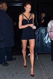 shoes,mini dress,candice swanepoel,model off-duty,met gala,celebrity,pumps,bodycon dress
