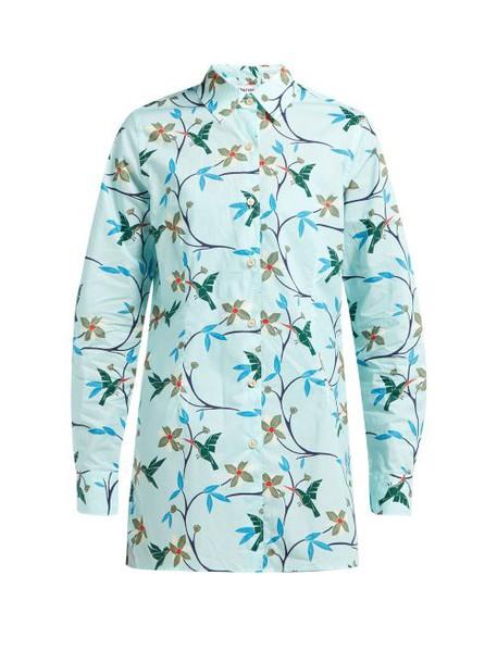 Thorsun - Georgie Hummingbird Print Cotton Poplin Shirt - Womens - Blue Multi