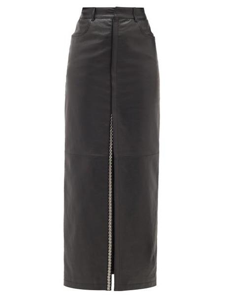 Saint Laurent - Studded Slit-front Leather Skirt - Womens - Black