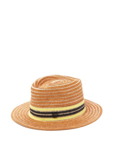 Maison Michel - Andre Striped Raffia And Jute Hat - Womens - Brown Multi