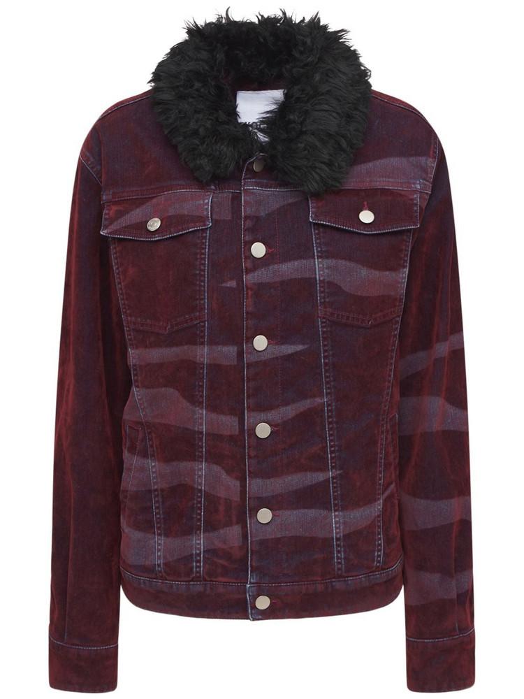 KOCHE' Sports Printed Denim Jacket in burgundy