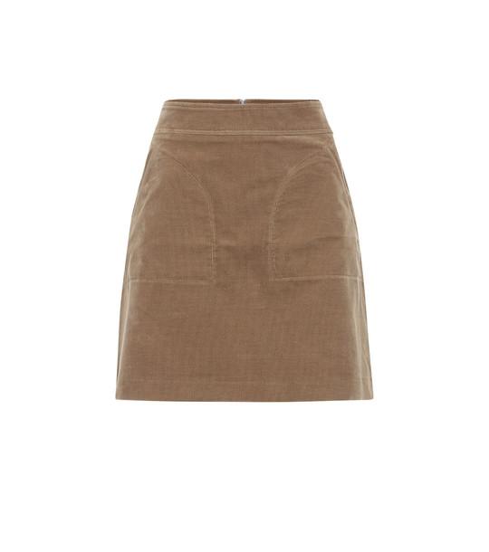 A.P.C. Shanya cotton-corduroy miniskirt in beige