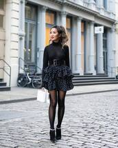 skirt,mini skirt,black skirt,high waisted skirt,layered,ankle boots,black boots,tights,white bag,boxed bag,black turtleneck top,black belt