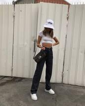 pants,black pants,high waisted pants,white sneakers,fendi,white top,bucket hat,bag