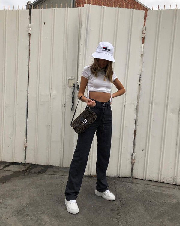 pants black pants high waisted pants white sneakers fendi white top bucket hat bag