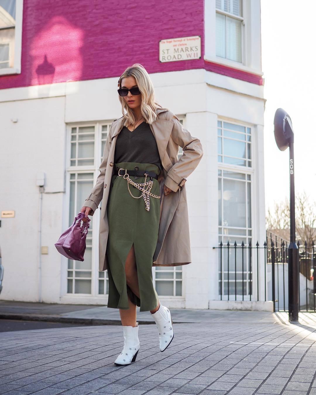 skirt high waisted skirt midi skirt slit skirt ankle boots white boots trench coat black top bag