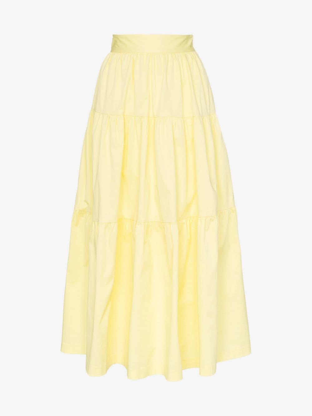 Staud tiered cotton-blend maxi skirt in yellow