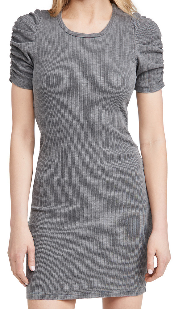 SUNDRY Puff Sleeve Dress in charcoal
