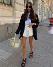 jacket,black blazer,black sandals,white shorts,loewe bag,white t-shirt