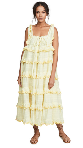 Innika Choo Scallop Frill Dress in yellow
