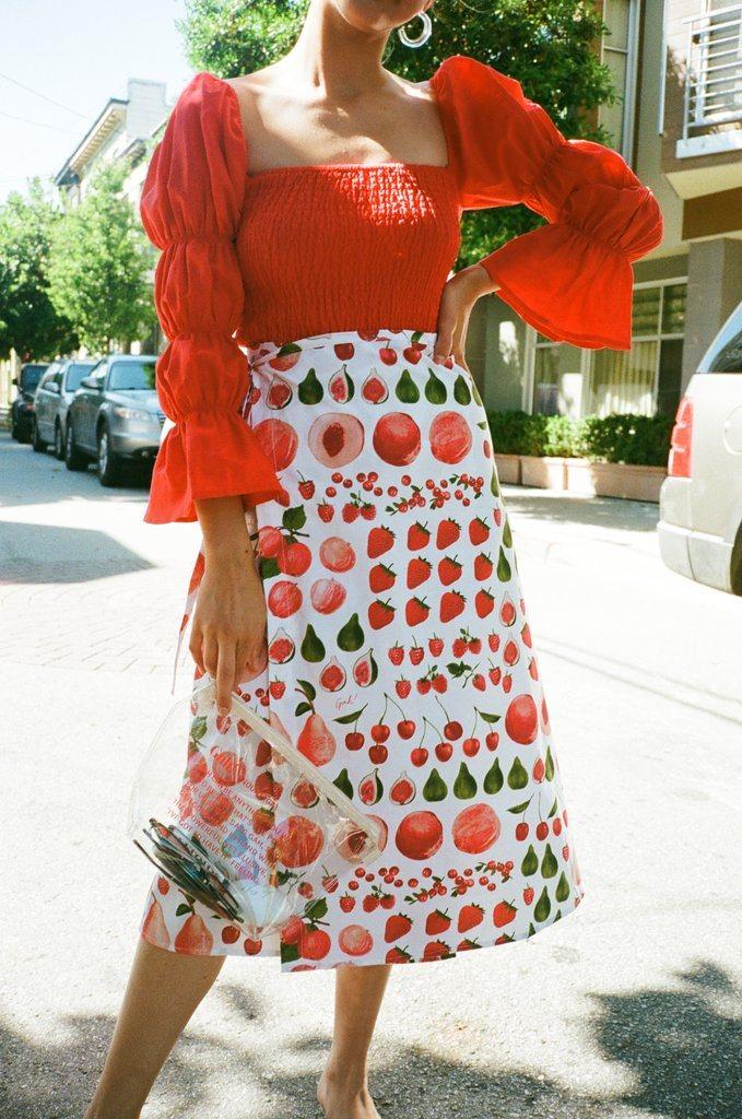 Kora Shirring Blouse - Red