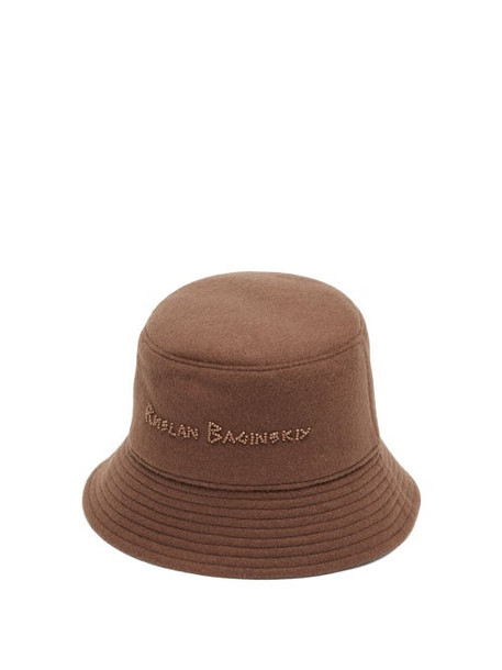 Ruslan Baginskiy - Beaded-logo Felted-wool Bucket Hat - Womens - Brown