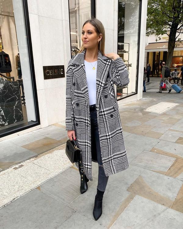 coat long coat topshop black bag skinny jeans white top